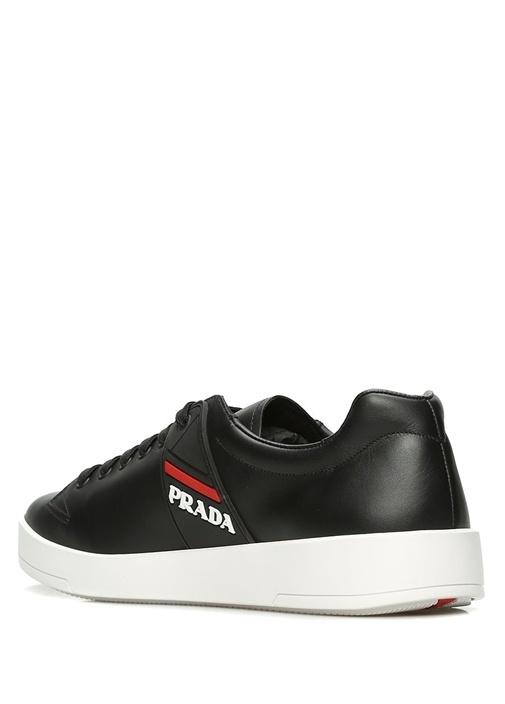 Siyah Logo Detaylı Erkek Deri Ayakkabı