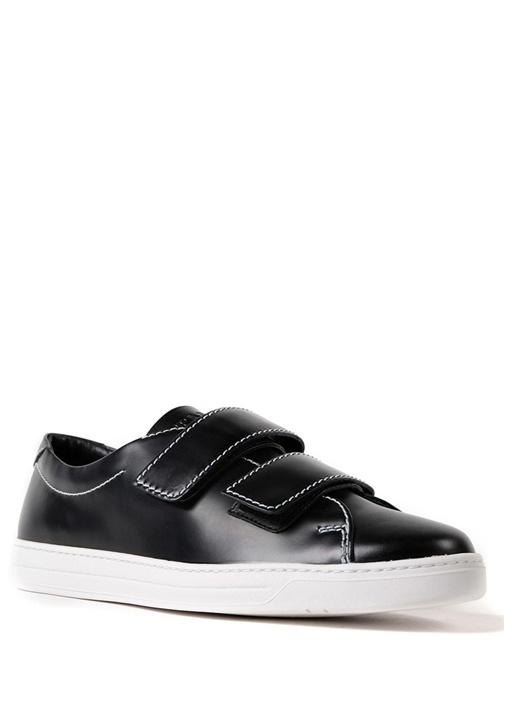 Siyah Kontrast Dikişli Erkek Deri Sneaker