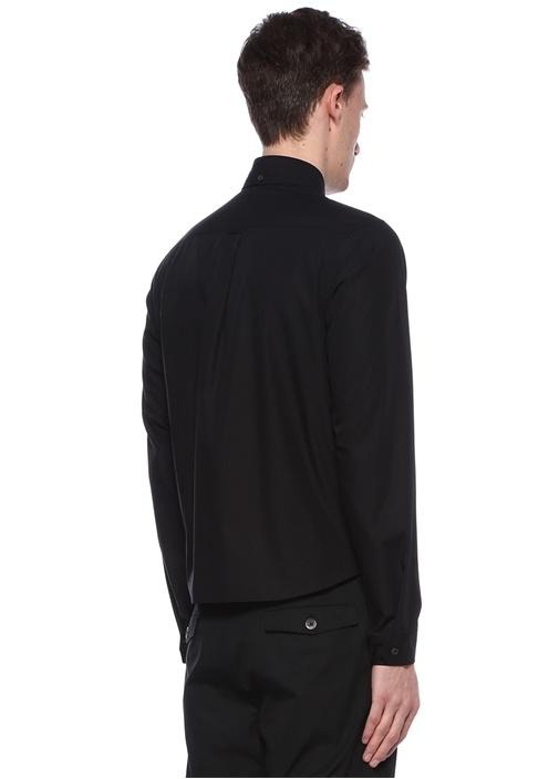 Maymun Baskılı Oxford Yaka Siyah Gömlek