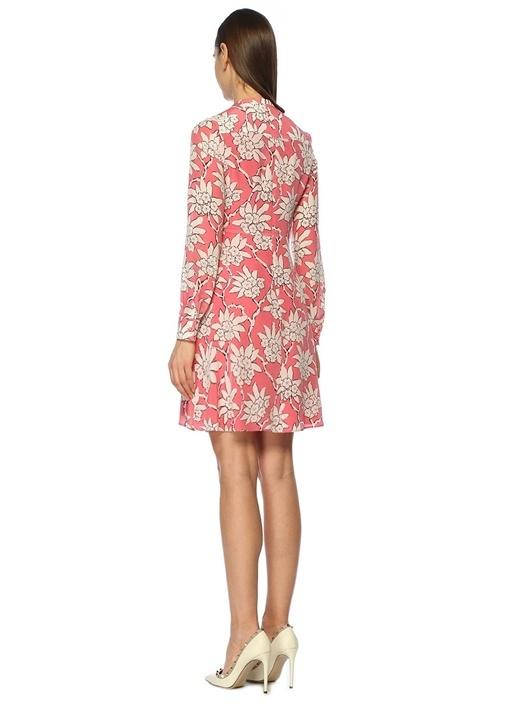 Pembe Çiçekli Önü Dekolteli Mini İpek Elbise