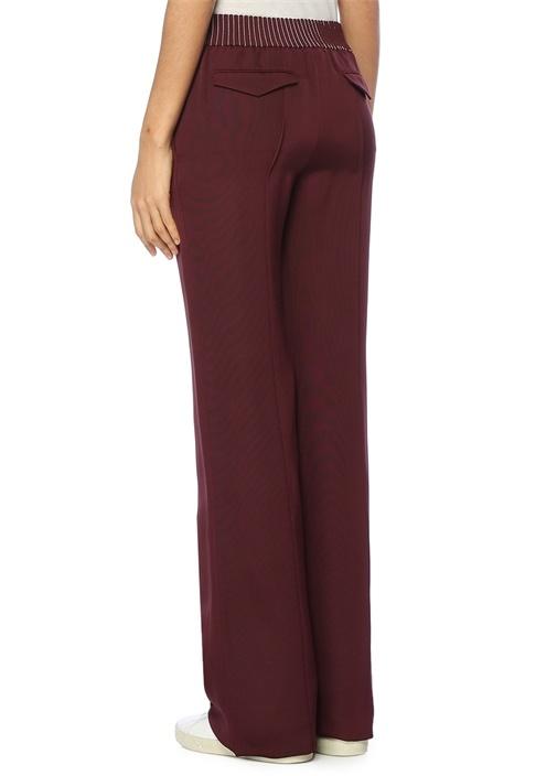 Bordo Yüksek Bel Dikiş Detaylı Pantolon