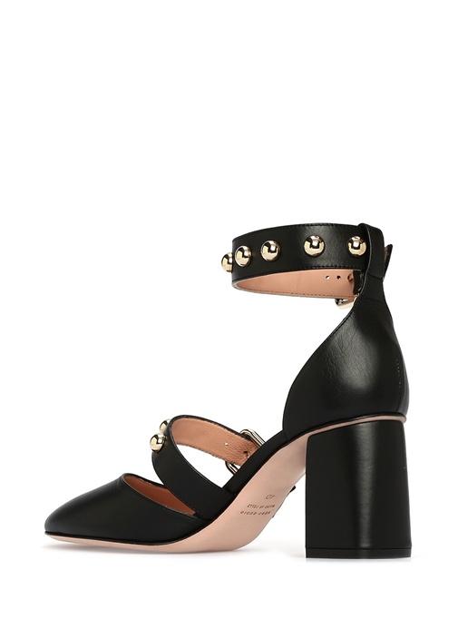 Siyah Topuklu Deri Kadın Sandalet