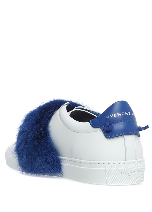 Mavi Peluş Bantlı Deri Kadın Sneaker