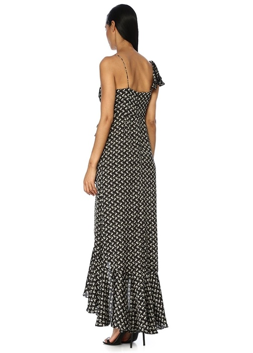 Siyah Çiçekli Asimetrik Volanlı Maksi Saten Elbise