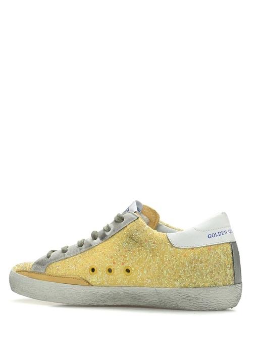 Sarı Payetli Yıldız Detaylı Kadın Sneaker
