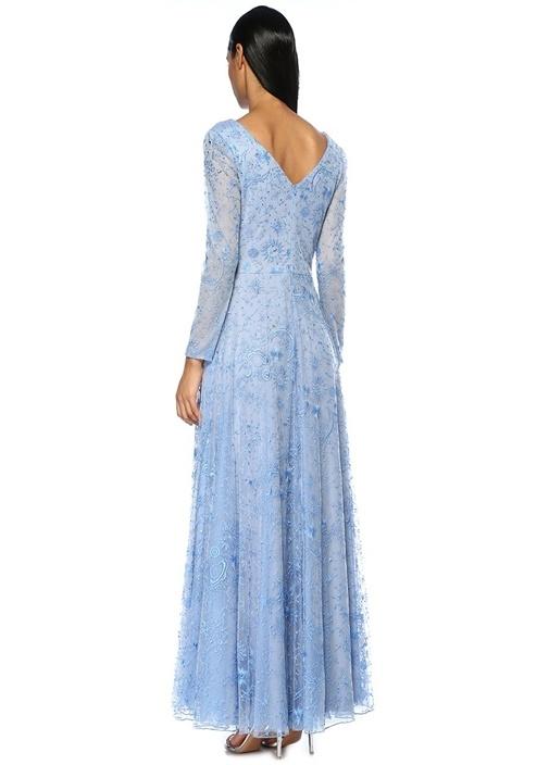 Apollonia Mavi İşlemeli V Yaka Maksi Elbise