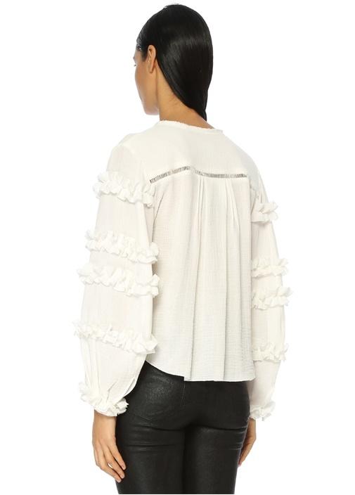 Beyaz Delikli Fırfırlı Bluz