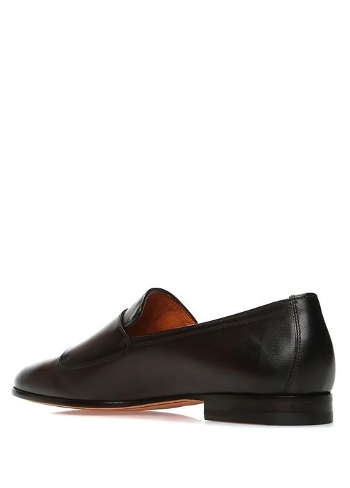 Kahverengi Çift Kemer Detaylı Erkek Deri Loafer