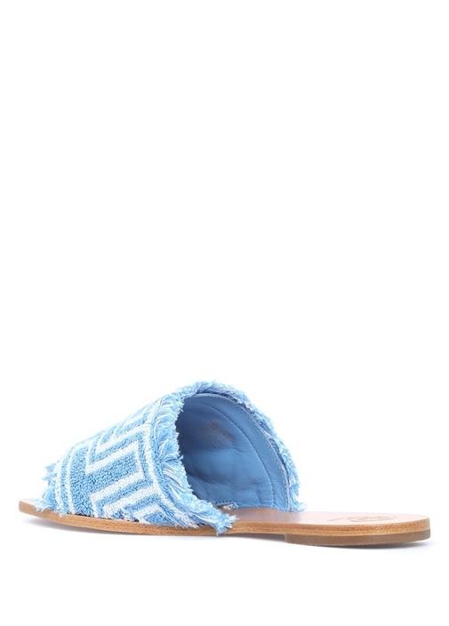 Towel Mavi Logolu Püsküllü Kadın Terlik