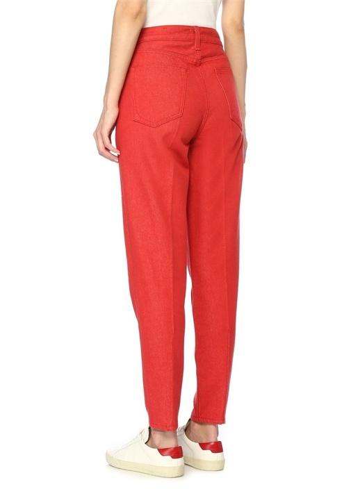 Kırmızı Yüksek Bel Jean Pantolon