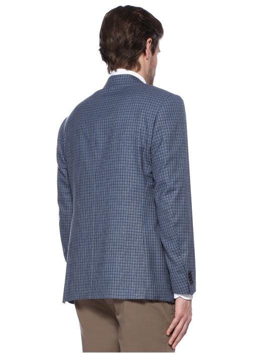Mavi Ekose Desenli Ceket