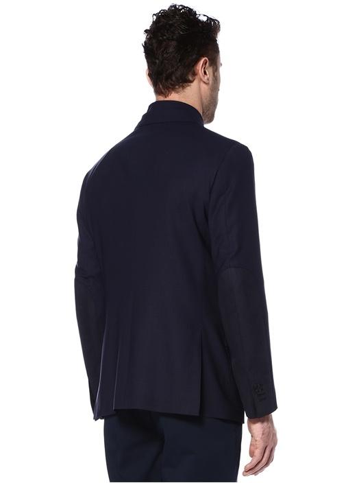 Lacivert Yaka Detaylı Yün Ceket