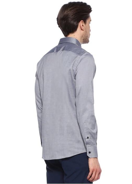 Siyah Armürlü Slim Fit Gömlek
