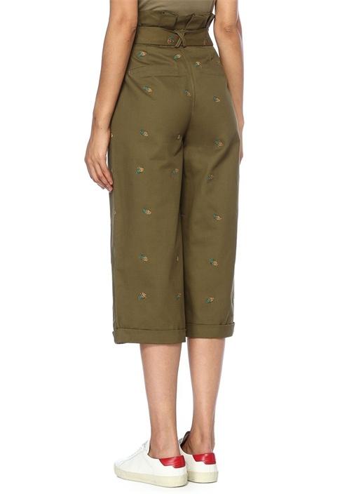 Haki Yüksek Bel Ananas Nakışlı Crop Pantolon