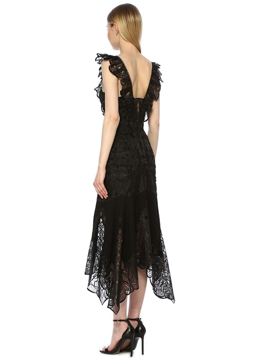 Siyah Dantelli Volanlı Maksi İpek Elbise