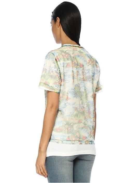 Bisiklet Yaka Desenli Tüllü Büzgülü T-shirt