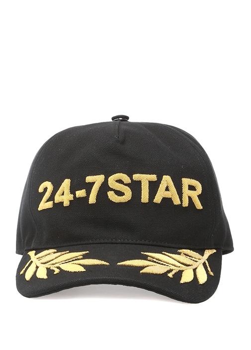 Siyah Gold Logo Nakışlı Erkek Şapka