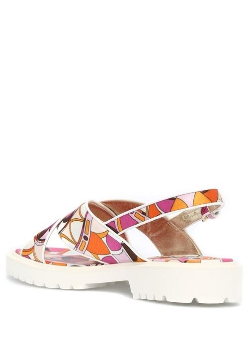 Geometrik Desenli Sandalet