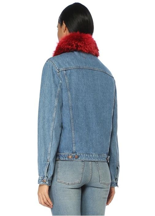 Mavi Yaka Detaylı Denim Ceket