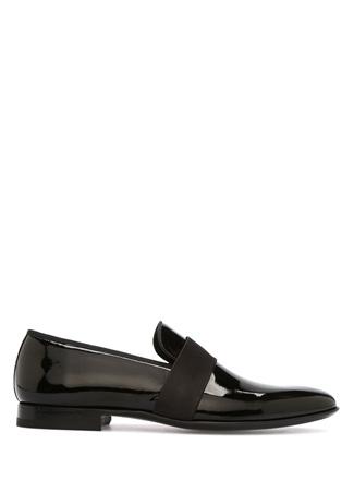 Erkek Siyah Bant Detaylı Deri Smokin Ayakkabısı 40.5 EU