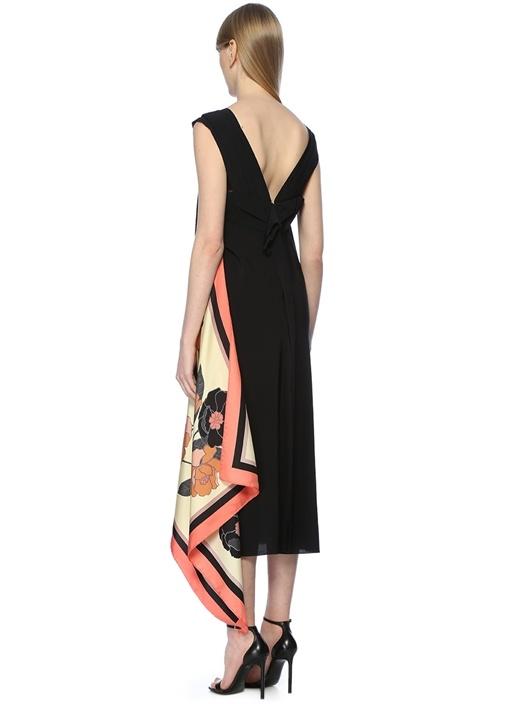 Draft Siyah Eşarp Detaylı Midi Krep Elbise