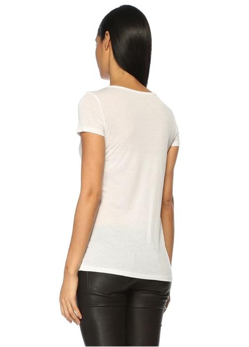 Malin Beyaz V Yaka Tshirt