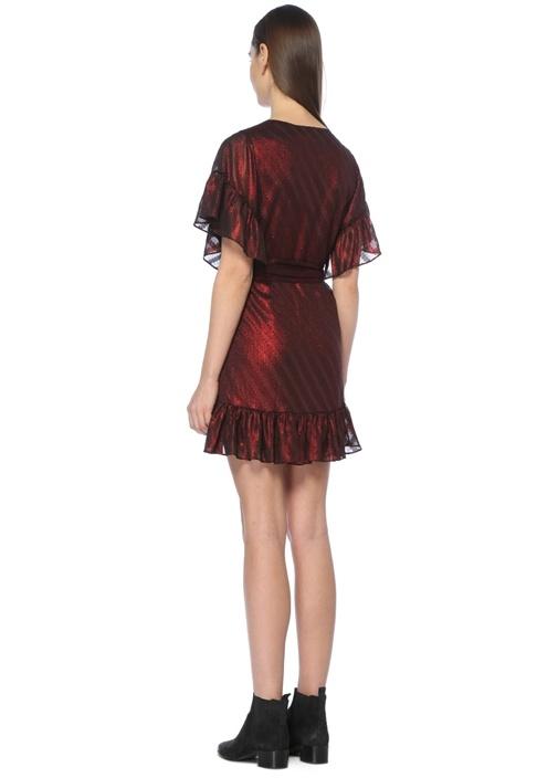 Belle Koyu Kırmızı Volanlı Mini Elbise