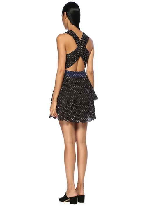 San Onofre Siyah Puanlı Mini Plaj Elbisesi