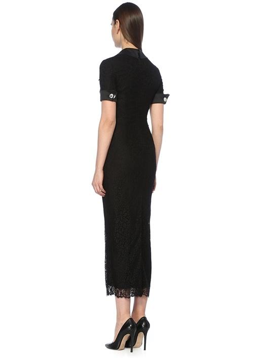 Siyah Taş Düğmeli Yarım Kol Maksi Dantelli Elbise