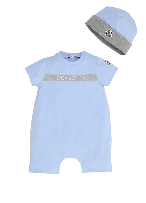 Mavi Logo Şerit Baskılı Erkek Bebek Tulum