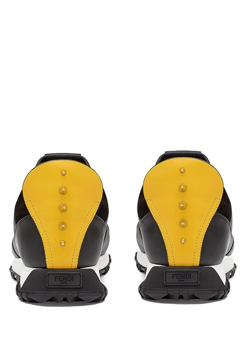 Siyah Trok Detaylı Patchli Erkek Deri Sneaker