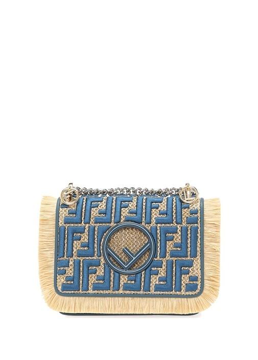 Mavi Bej Logo Nakışlı Püsküllü Kadın Omuz Çantası