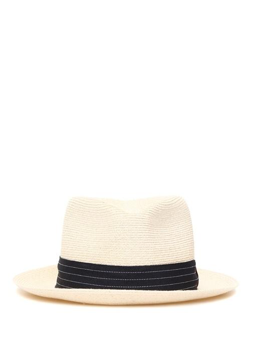 Beyaz Dekoratif Dikişli Bantlı Erkek Şapka