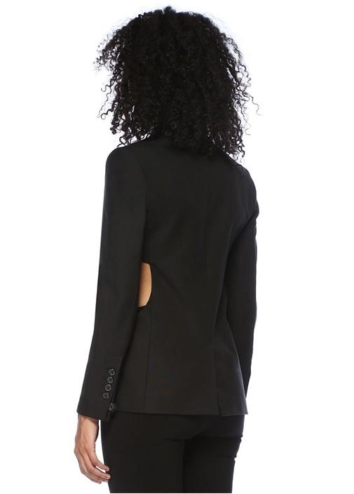 Siyah Kelebek Yaka Dekolteli Blazer Ceket