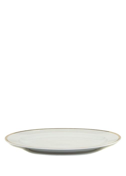 Medaillon Beyaz Şeritli Porselen ServisTabağı