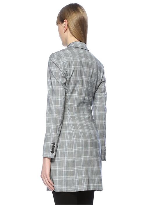 Gri Kırlangıç Yaka Ekoseli Uzun Blazer Ceket