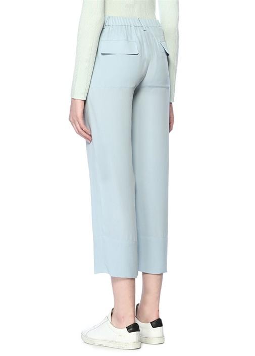 Mavi Yüksek Bel Crop İpek Pantolon