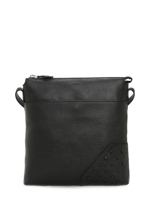 Siyah Doku Detaylı Kadın Deri Çanta