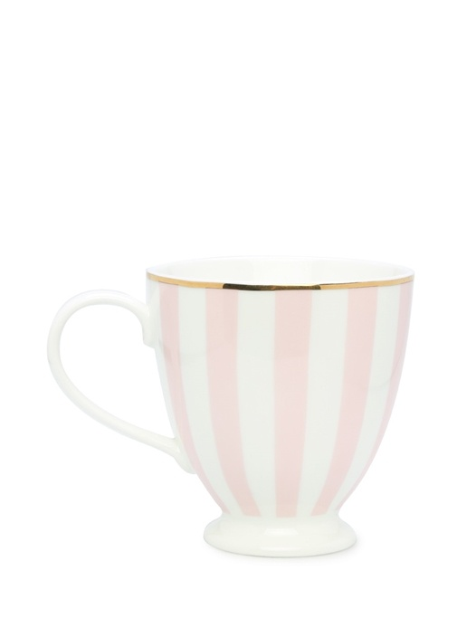 Enjoy Baskılı Beyaz Pembe Çizgili Seramik Kupa