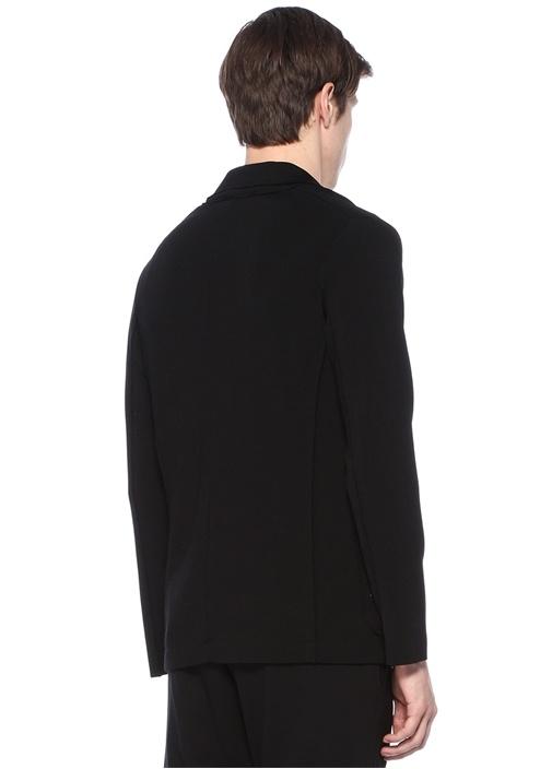 Siyah Şal Yaka Çelik Örgü Dokulu Ceket