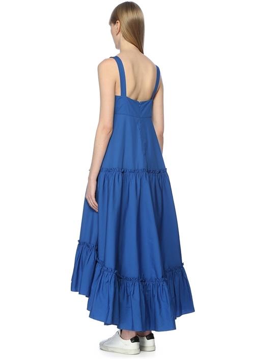 Mavi Kare Yaka Fırfırlı Maksi Elbise