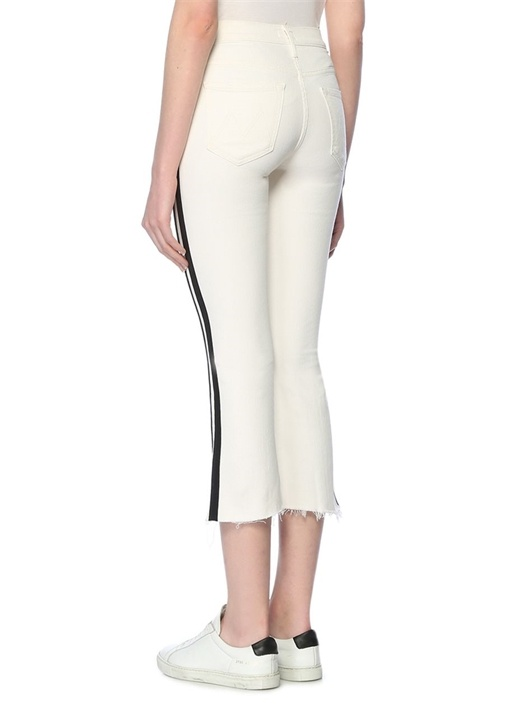 Insider Beyaz Şeritli Bol Paça Crop Jean Pantolon