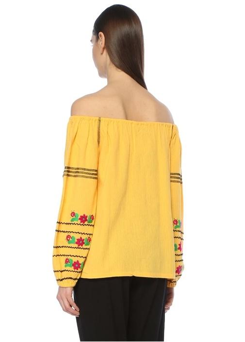 Sarı Püsküllü Çiçek Nakışlı Bluz