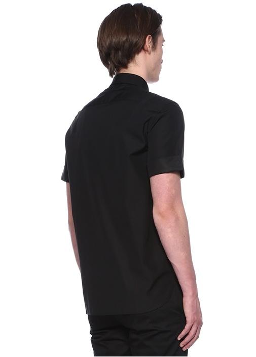 Siyah Kısa Kollu Pamuklu Gömlek