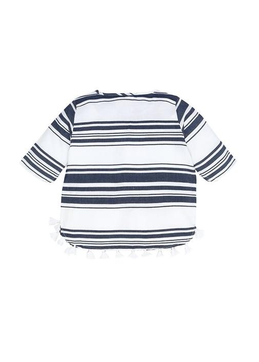 Lacivert Beyaz Çizgili Kız Çocuk Plaj Elbisesi