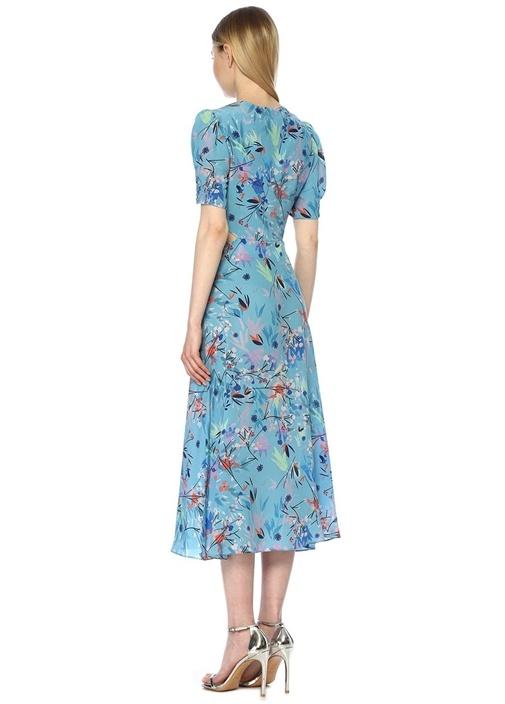 Lea Mavi Çiçekli Dekolteli Midi İpek Elbise