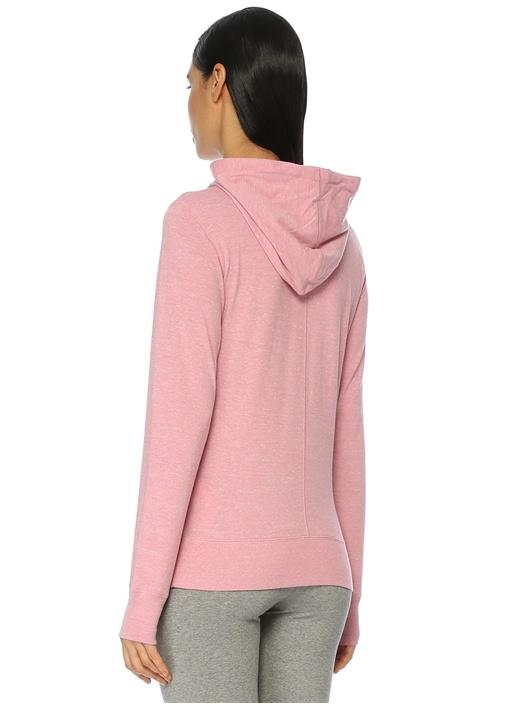 Pembe Kapüşonlu Logo Baskılı Sweatshirt