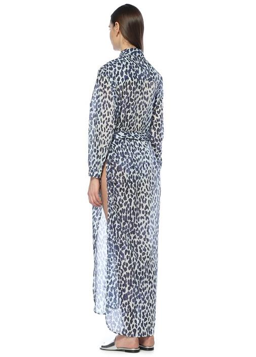 Lacivert Beyaz Leoparlı Maksi Plaj Elbisesi