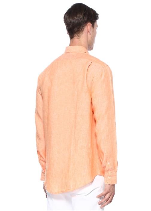 Turuncu Logo Nakışlı Keten Gömlek