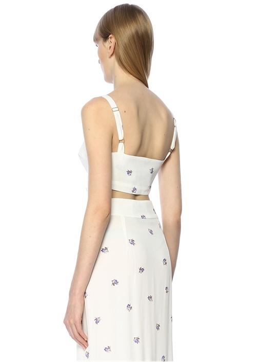 Alexis Beyaz Çiçekli Crop Bluz
